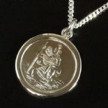 25mm Premium Quality Silver St Christopher, with curb chain, ref. SCPM25